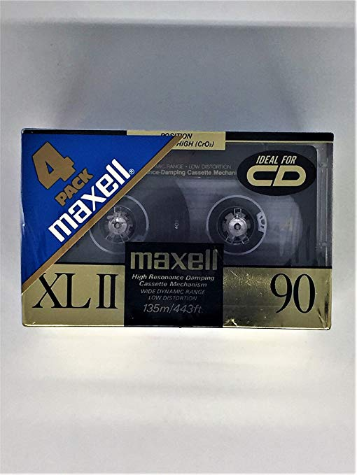 Maxell(R) Cassette Audio テープ, 90-ミニッツ ハイ Bias スタンダード, パック Of 4 (Discontinued by Manufacturer) (海外取寄せ品)