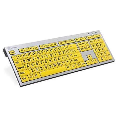 LogicKeyboard ラージ プリント コンピューター USB Wired Keyboard スリム - ブラック Letters on イエロー キー For PC-LKBU-LPRNTBY-AJPU-US (海外取寄せ品)