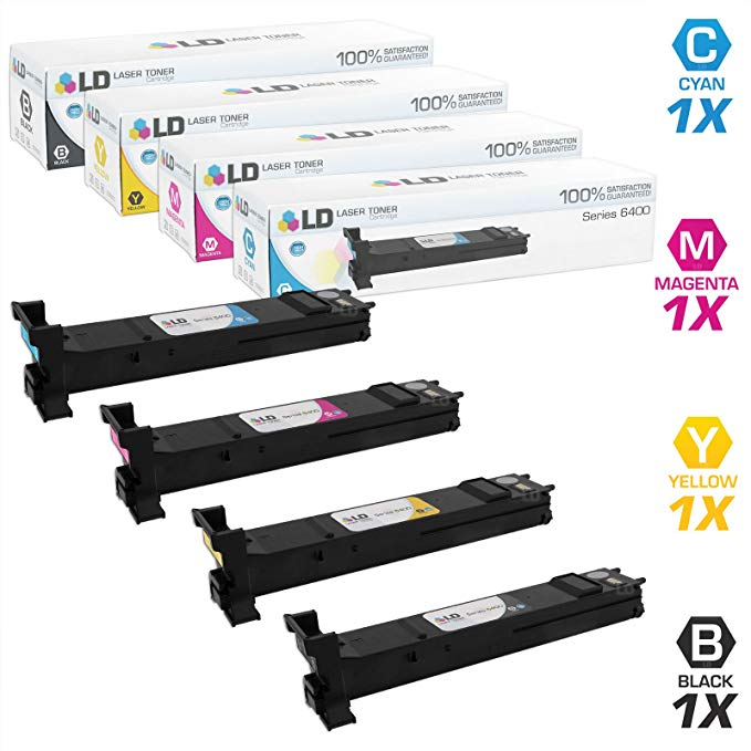 LD Compatible Xerox 6400 セット of 4 ハイ Yield Toner Cartridges: 106R01316 ブラック, 106R01317 シアン, 106R01318 Magenta, 10601319 イエロー for WorkCentre 6400 Printer Series (海外取寄せ品)