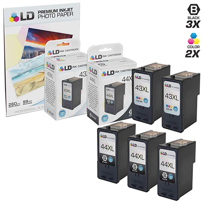 LD Remanufactured Lexmark 18Y0144(#44) and 18Y0143 (#43) セット of 5 Ink Cartridges: インクルーズ 3 ブラック and 2 カラー Cartridges and a FREE 20-パック of LD ブランド Brand 4x6 Photo ペーパー (海外取寄せ品)