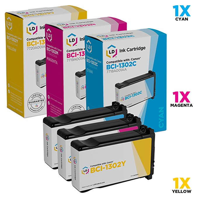 LD c Compatible リプレイスメント for Canon BCI-1302 セット of 3 Ink Cartridges: BCI-1302C シアン, BCI-1302M Magenta & BCI-1302Y イエロー for use in imagePROGRAF W2200 & W2200S (海外取寄せ品)
