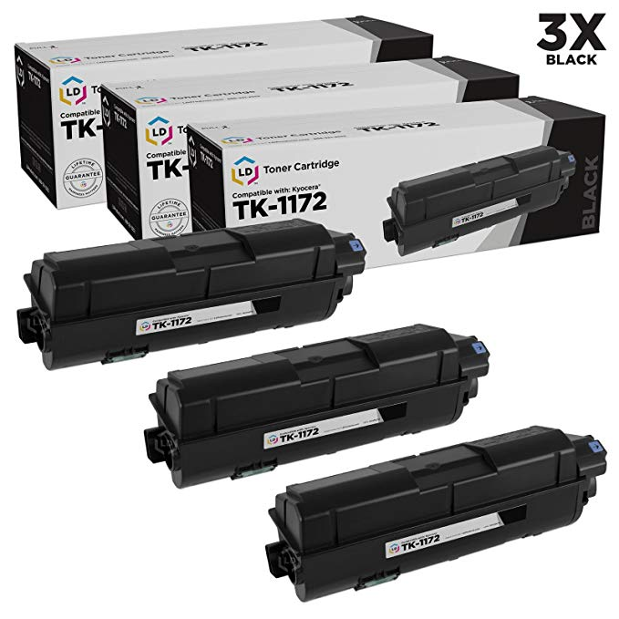 LD Compatible リプレイスメント for Kyocera TK-1172 (1T02S50US0) パック of 3 ブラック Laser Toner Cartridges for use in M2040dn, M2540d, M2540dw & M2640idw (海外取寄せ品)