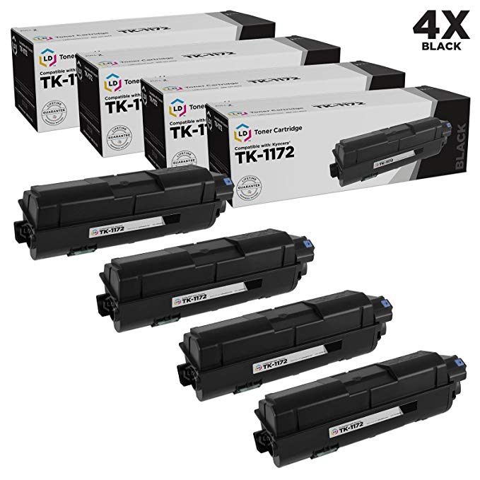 LD Compatible リプレイスメント for Kyocera TK-1172 (1T02S50US0) パック of 4 ブラック Laser Toner Cartridges for use in M2040dn, M2540d, M2540dw & M2640idw (海外取寄せ品)