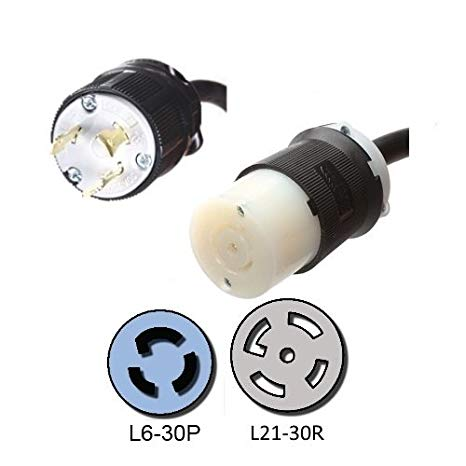 NEMA L6-30P to a L21-30R Plug Adapter - 1 Foot, 30A/208V, 10/3 SJOOW - Iron ボックス # IBX-7795-01 (海外取寄せ品)