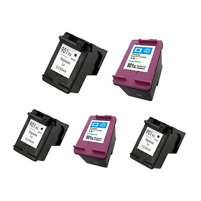 5 Pack. Refurbished cartridges for HP 901XL ブラック and HP 901 Tri-カラー Ink Cartridges. インクルーズ Cartridges for 3ea HP 901XL ブラック + 2 ea HP 901 Tri-Color. 「汎用品」(海外取寄せ品)