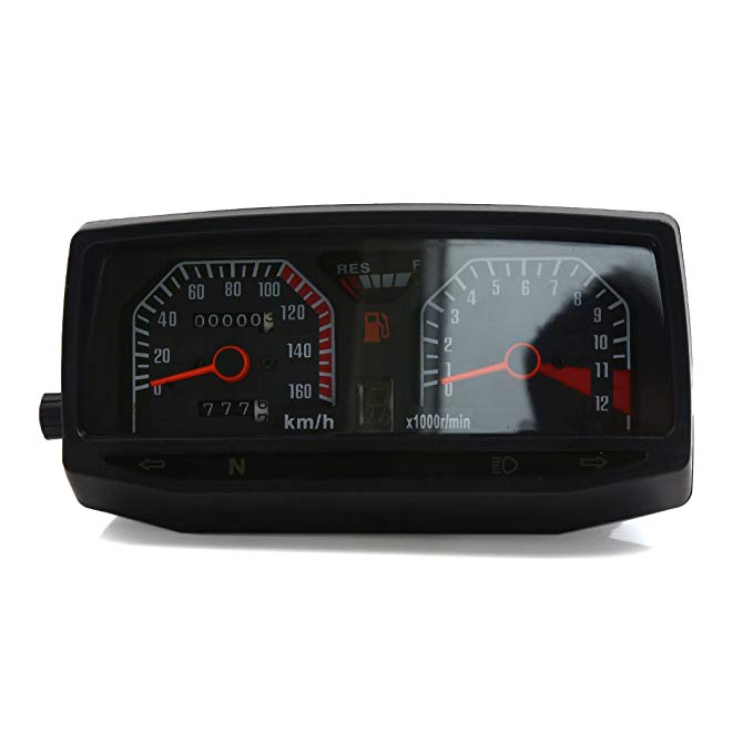 uxcell ブラック 0-160km/h Motorcycle デュアル Odometer Instrument Speedometer for WY125 (海外取寄せ品)