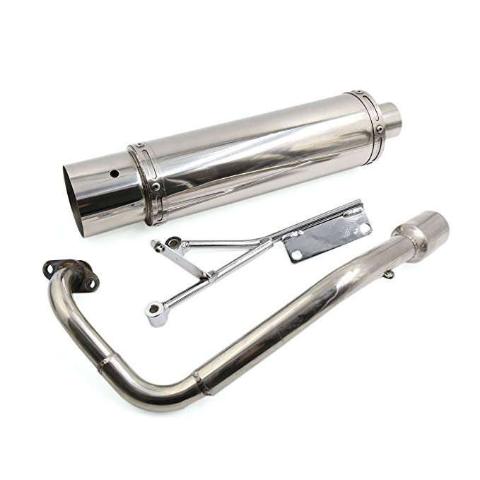 uxcell 50mm Inlet シルバー トーン ステンレス スチール Exhaust パイプ Muffler Tip for Motorcycle (海外取寄せ品)