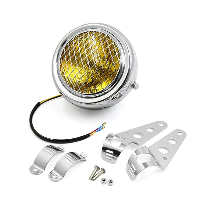 uxcell 6.3inch ディア イエロー Light Headlight w シルバー トーン Mount Bracket for Motorcycle (海外取寄せ品)