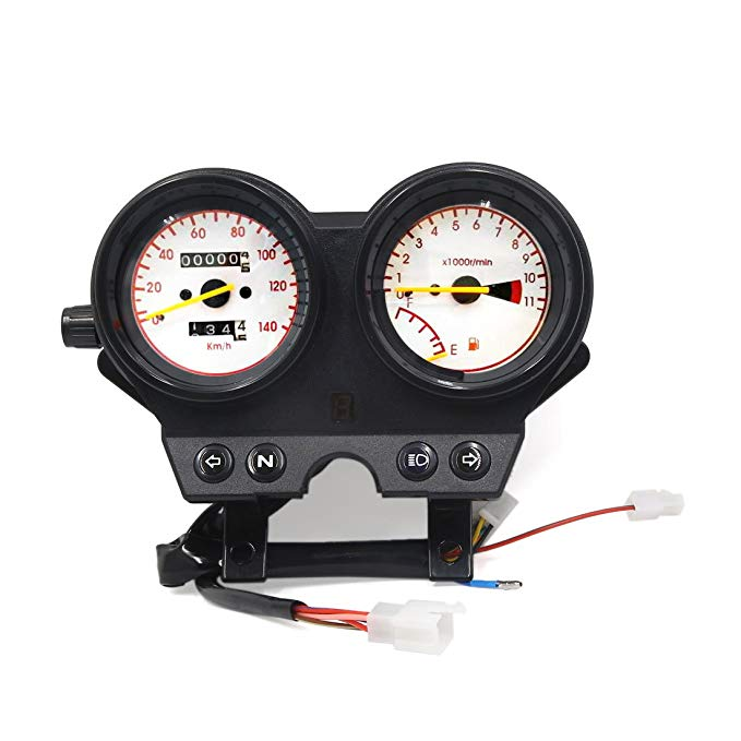 uxcell Motorcycle 0-140Km/h Odometer Tachometer Speedometer ゲージ メーター DC12V 3W for EN (海外取寄せ品)
