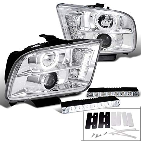 Ford Mustang クローム Halo Projector Headlights + 6-LED Bumper DRL Fog ランプ (海外取寄せ品)