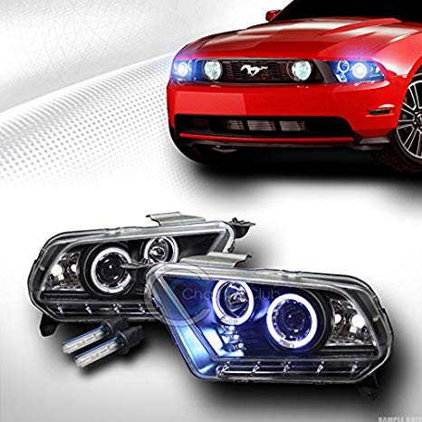 10000K HID XENON BLK LED HALO PROJECTOR HEAD ライト ランプ 2010-2014 FORD MUSTANG (海外取寄せ品)