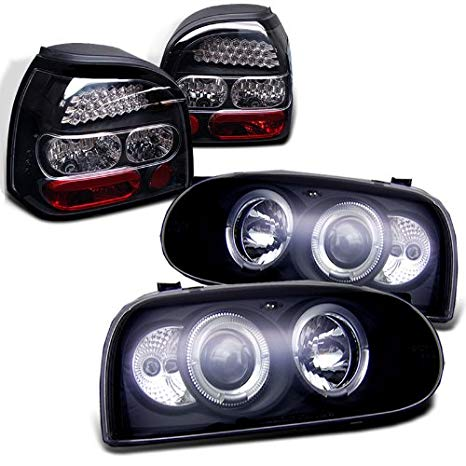 Rxmotoring 1993-1998 Volkswagen Golf Headlights Projector + Tail Light (海外取寄せ品)