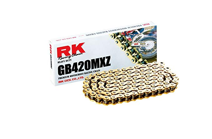 RK レーシング チェーン GB420MXZ-124 ゴールド 124-リンクス Heavy Duty チェーン with Connecting リンク (海外取寄せ品)