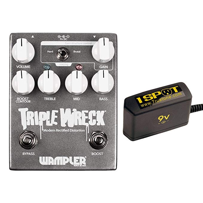Wampler トリプル Wreck バンドル w/Truetone 1 Spot Space Sacing 9v Adapter (海外取寄せ品)