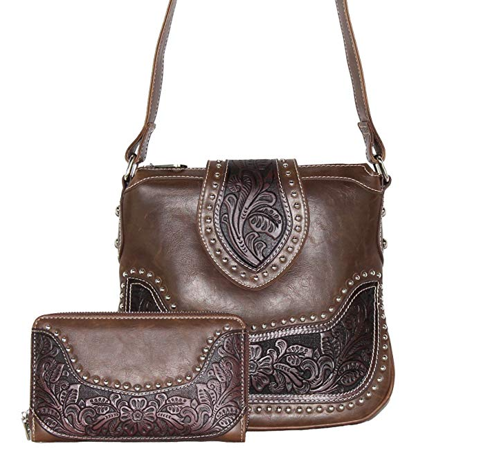 Concealed Carry Tooled Messenger パース and ウォレット - Concealment Weapon Gun Bag - Tooled Crossbody Bag with マッチング ウォレット by Montana ウェスト (Coffee) 『海外取寄せ品』