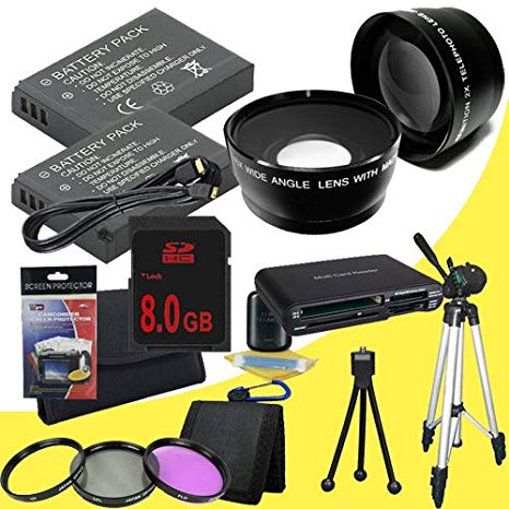TWO LP-E8 Lithium イオン リプレイスメント Batteries + 8GB SDHC Memory Card + Tripod + ミニ HDMI + 3 ピース フィルタ キット + ワイド Angle/Telphoto Lenses + USB SD Memory Card リーダー /ウォレット + Deluxe スターター キット for C (海外取寄せ品)[汎用品]