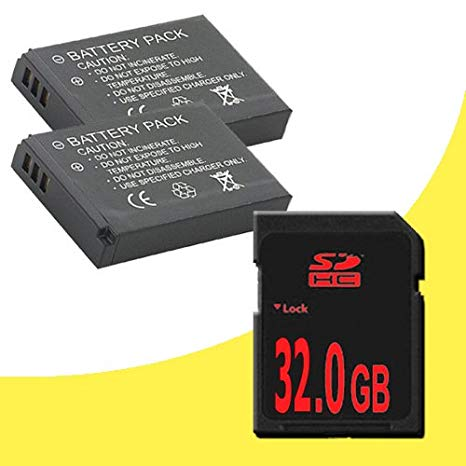 TWO NB-11L Lithium イオン リプレイスメント Batteries + 32GB SDHC クラス 10 Memory Card for Canon Elph 110 HS, Canon PowerShot A2300, A2400 IS, A3400, A4000 IS, Canon Ixus 125 HS, 240 HS デジタル Cameras DavisMAX NB11L アクセサリ (海外取寄せ品)[汎用品]