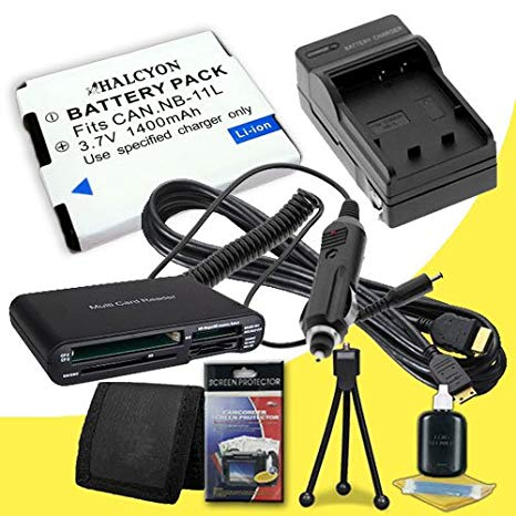 NB-11L Lithium イオン リプレイスメント Batteries + External Rapid Charger + ミニ HDMI ケーブル + SDHC Card USB リーダー + Memory Card ウォレット + Deluxe スターター キット for Canon Elph 110 HS, Canon PowerShot A2300, A2400 IS, (海外取寄せ品)[汎用品]
