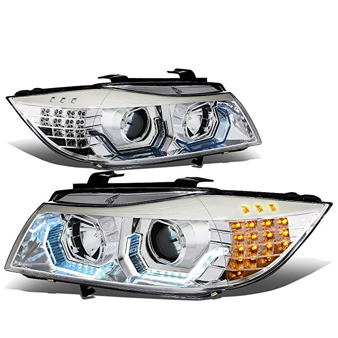 DNA Motoring HL-3D-E9005-CH-NEW-G2 3D Halo Angle アイ Projector Headlight ブラック [For 09-12 BMW E90] (海外取寄せ品)