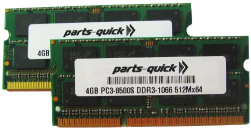 8GB 2 X 4GB メモリ memory compatible for レノボ ThinkPad T400, T400s, T410, T410i, T410s, T410si, T500, T510, T510i Laptop - DDR3 SODIMM 1066MHz PC3-8500 204 ピン RAM (PARTS-クイック BRAND) (海外取寄せ品)