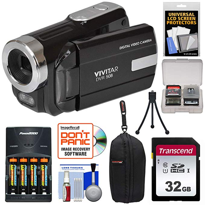 Vivitar DVR-508 HD デジタル ビデオ Camera Camcorder (Black) with 32GB Card + Batteries & Charger + ケース + Tripod + キット 「汎用品」(海外取寄せ品)