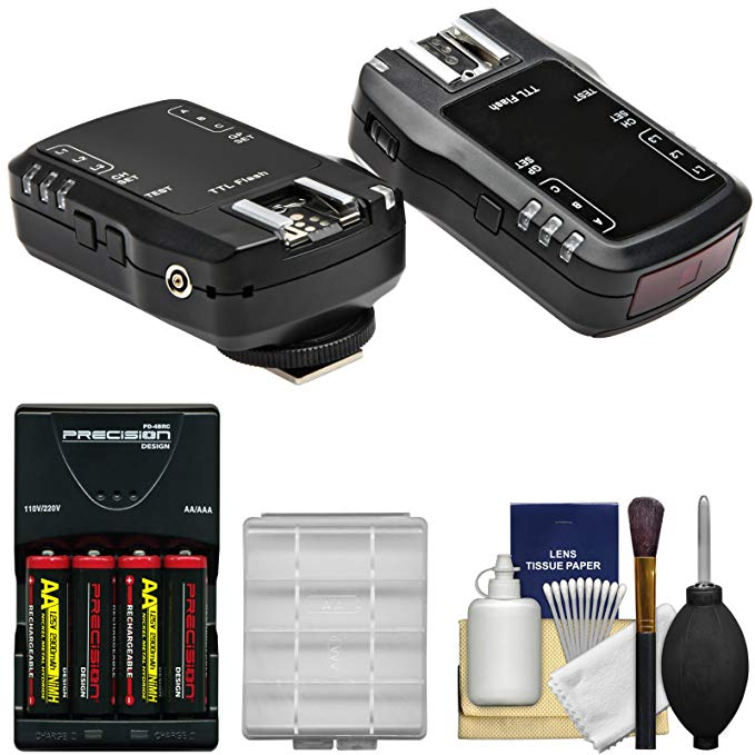 Vivitar FT-2900N TTL Wireless フラッシュ トリガー for Nikon Cameras (Set of 2) with AA Batteries & Charger + キット 「汎用品」(海外取寄せ品)