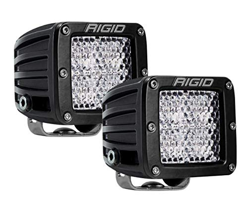 RIGID 502523 D-SERIES プロ DRIVING DIFFUSED アンバー LED Surface Mount with ブラック ハウジング, セット of 2 LED ライト, 502523 (海外取寄せ品)