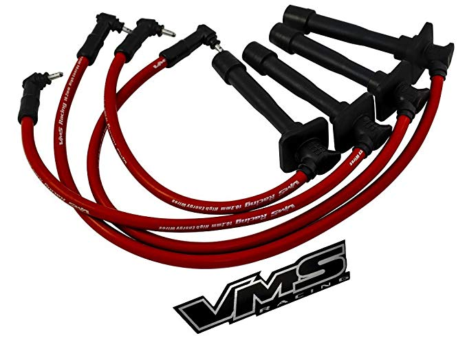 93-97 VMS レーシング 10.2mm ハイ パフォーマンス エンジン スパーク PLUG IGNITION WIRES Wire セット in レッド for トヨタ TOYOTA COROLLA 93 94 95 96 97 1993 1994 1995 1996 1997 (海外取寄せ品)[汎用品]