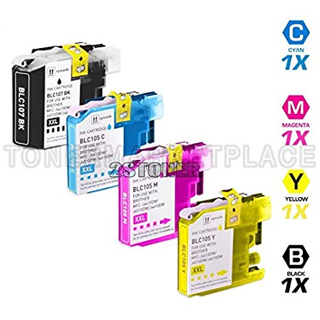 INKUTEN c Brother Compatible LC107 and LC105 セット of 4 Ink Cartridges: 1 ブラック & 1 each of シアン / Magenta / イエロー (海外取寄せ品)[汎用品]