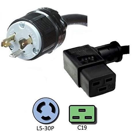 NEMA L5-30P to a Right Angle C19 Power コー??ド - 8 Foot, 20A/125V, 12 AWG - Iron ボックス # IBX-8877-15 (海外取寄せ品)