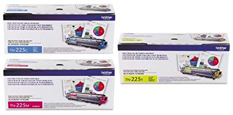 Brother TN225C, TN225M, TN225Y (TN-225C, TN-225M, TN-225Y) ハイ Yield シアン, Magenta and イエロー Toner Cartridge セット (海外取寄せ品)