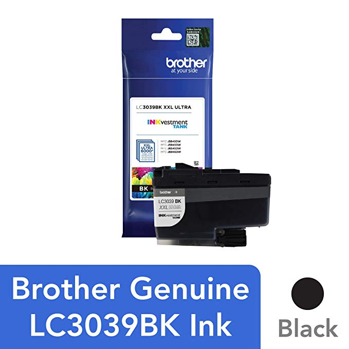 Brother Genuine LC3039BK シングル パック Ultra ハイ-Yield ブラック INKvestment Tank Ink Cartridge, ページ Yield Up to 6,000 Pages, LC3039 (海外取寄せ品)