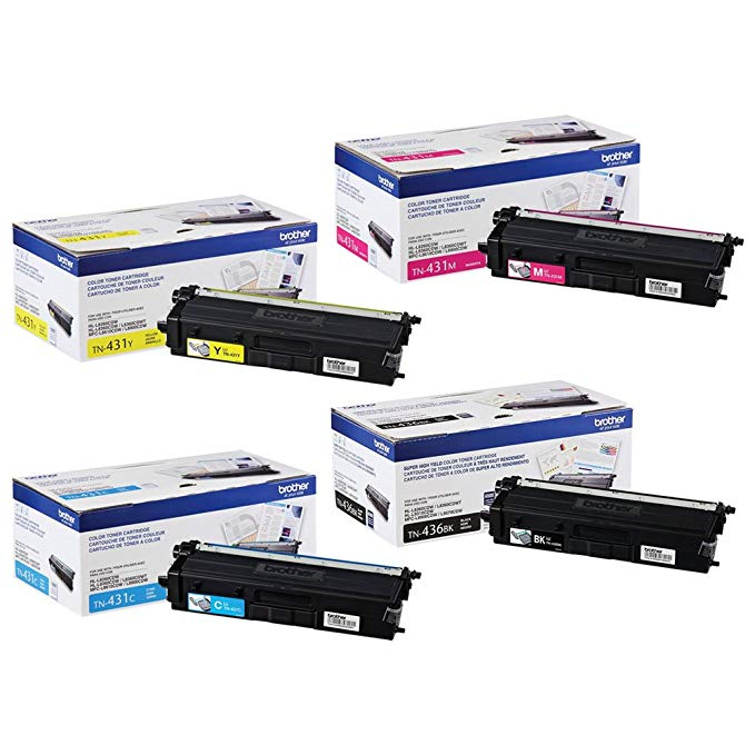 Brother TN436BK Super ハイ Yield and TN431 (C/M/Y) スタンダード Yield Toner Cartridge セット (海外取寄せ品)