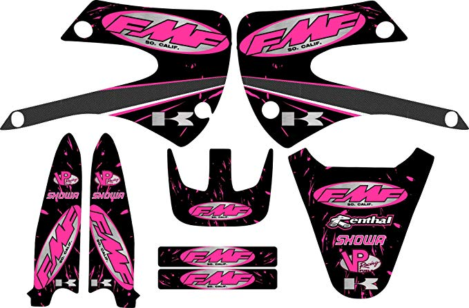 KX85 FMF レーシング Exhaust グラフィック キット 01-12 ピンク Decal Sticker Kx100 Kx 100 85 (海外取寄せ品)