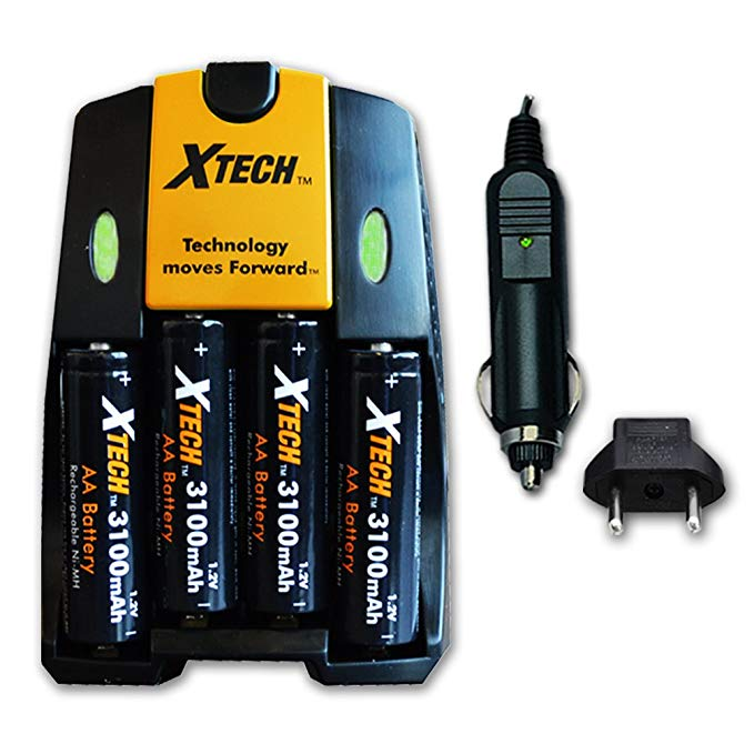 Xtech 4 AA Nimh ハイ -Capacity Rechargeable Batteries 3100mAh plus クイック AC/DC Charger with Car Charger Adapter for Flashlights, ソーラー ライト, スモーク detectors, Motion, Sensor, カーボン monoxide alarms, ウォール Clocks, 「汎用品」(海外取寄せ品)