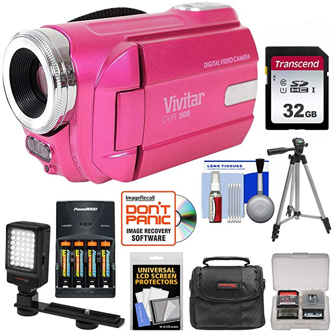 Vivitar DVR-508 HD デジタル ビデオ Camera Camcorder (Pink) with 32GB Card + Batteries & Charger + ケース + LED ビデオ Light + Tripod + キット 「汎用品」(海外取寄せ品)
