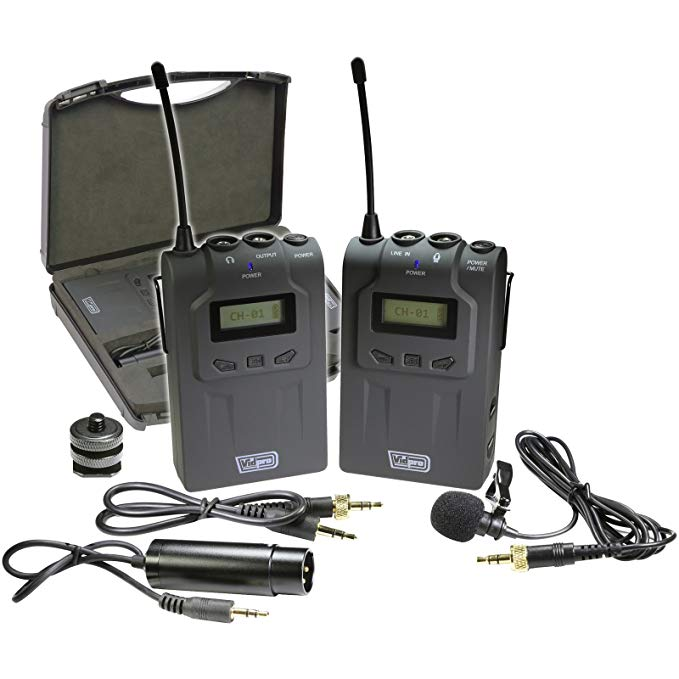 Vidpro XM-W4 Professional UHF Wireless Microphone System with Lavalier & ケース 「汎用品」(海外取寄せ品)