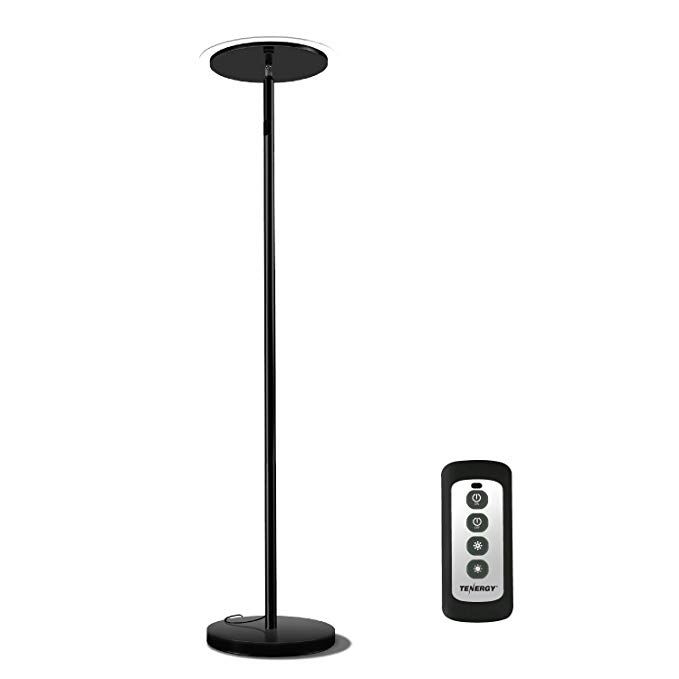 Tenergy Torchiere Dimmable LED フロアー ランプ, Remote Controlled 30W (150W Equivalent) Standing ランプ with Stepless タッチ Dimmer, 90° アジャスタブル Top, ウォール Switch スマート Outlet Compatible, ワーム ホワイト Light 「汎用品」(海外取寄せ品)