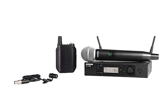 Shure GLXD124R/85-Z2 Rechargeable コンボ Wireless System with SM58 ハンドヘルド and WL185 Lavalier Microphones, ハーフ Rack 「汎用品」(海外取寄せ品)