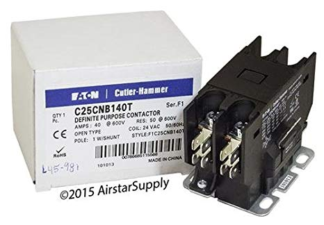 Eaton 24VAC Definite Purpose Contactor; No. of Poles 1, 40 Full Load Amps-Inductive 「汎用品」(海外取寄せ品)