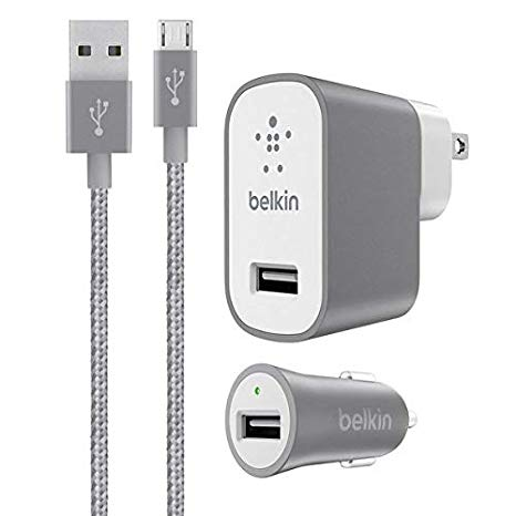 Belkin メタリック ホーム and Car Charger バンドル with 4-Foot Micro USB ケーブル (Grey) 「汎用品」(海外取寄せ品)