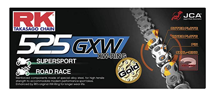 RK レーシング チェーン GB525GXW シール リング チェーン (海外取寄せ品)