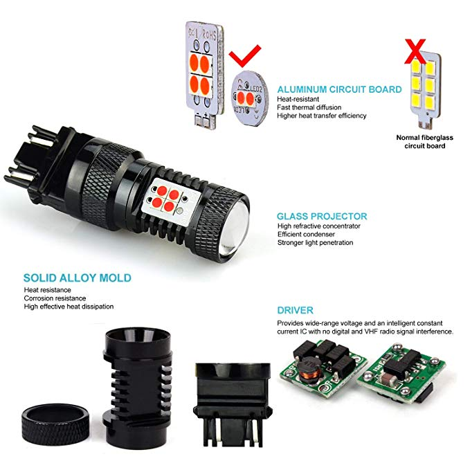 JDM ASTAR Extremely ブライト 3000 ルーメン ハイ Power 1156 1141 1073 7506 LED Bulbs with Projector,ブリリアント レッド (海外取寄せ品)