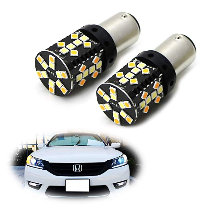 iJDMTOY CANbus No Resistor Required 44-SMD Switchback デュアル カラー LED Turn Signal Light Bulbs For 2013-2017 Honda Accord セダン or Crosstour (海外取寄せ品)