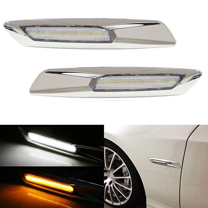 iJDMTOY クローム Finish アンバー/ホワイト Switchback Full LED Side Marker Light キット For BMW 1 3 5 Series X1, w/BMW F10 スタイル, Replace OEM Sidemarker ランプ (海外取寄せ品)