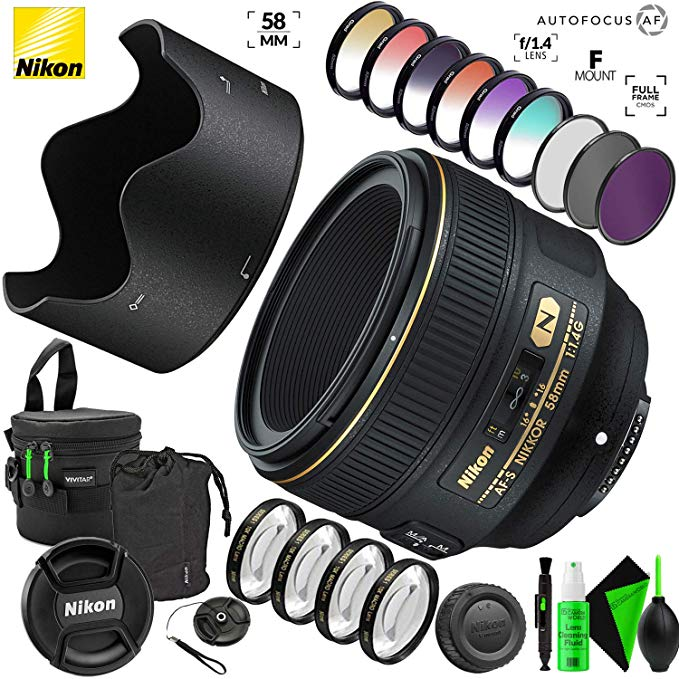 Nikon AF-S NIKKOR 58mm f/1.4G レンズ with クリエイティブ フィルタ キット and プロ Cleaning Accessories (海外取寄せ品)