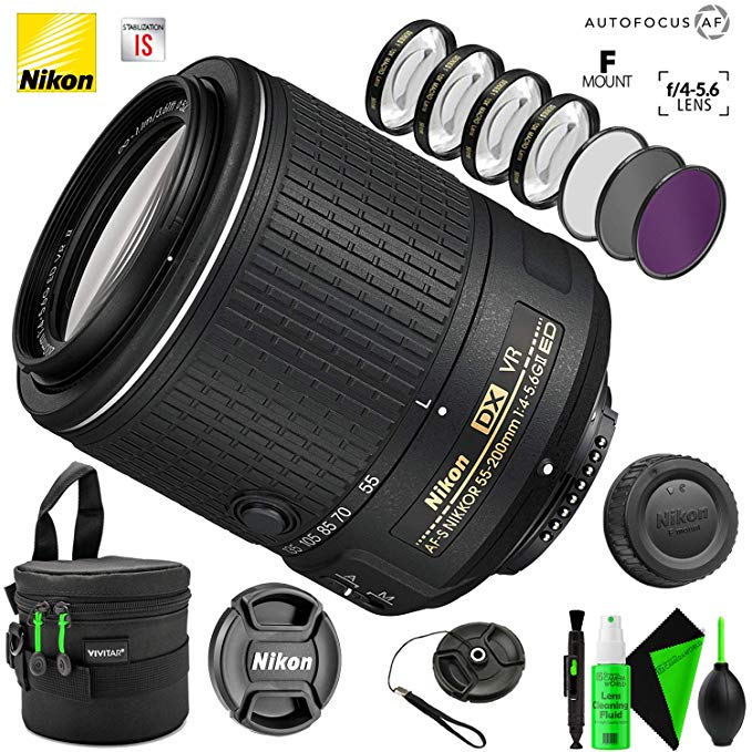 Nikon AF-S DX NIKKOR 55-200mm f/4-5.6G ED VR II レンズ with クリエイティブ フィルタ キット and プロ Cleaning Accessories (海外取寄せ品)