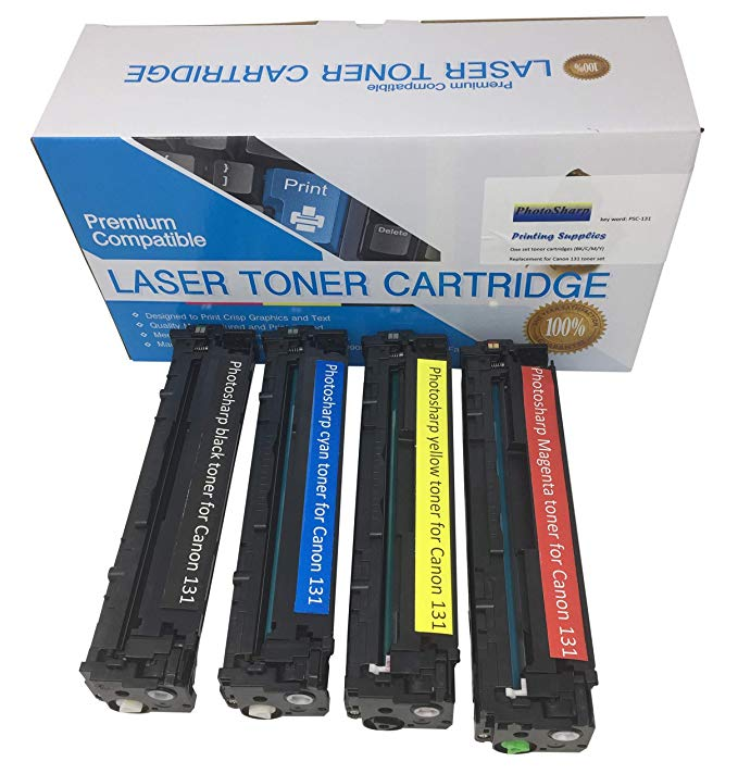 Four Compatible Cannon ImageClass MF624CW (Black/シアン/Magenta/Yellow) Ink Toner Cartridge for キャノン Canon 131 for イメージ-クラス MF-8280CW 多機能 オール-in-One カラー Laser Printer (海外取寄せ品)