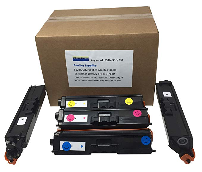 5 PhotoSharp HL-L8350CDW リプレイスメント Ink Toner Cartridge for Brother TN331TN-336BK /336C/336M/336Y (2 BK ブラック/ 1x C シアン/1 M Magenta /1 Y Yellow) Compatible for L8350 CDW カラー Laser Printer (海外取寄せ品)