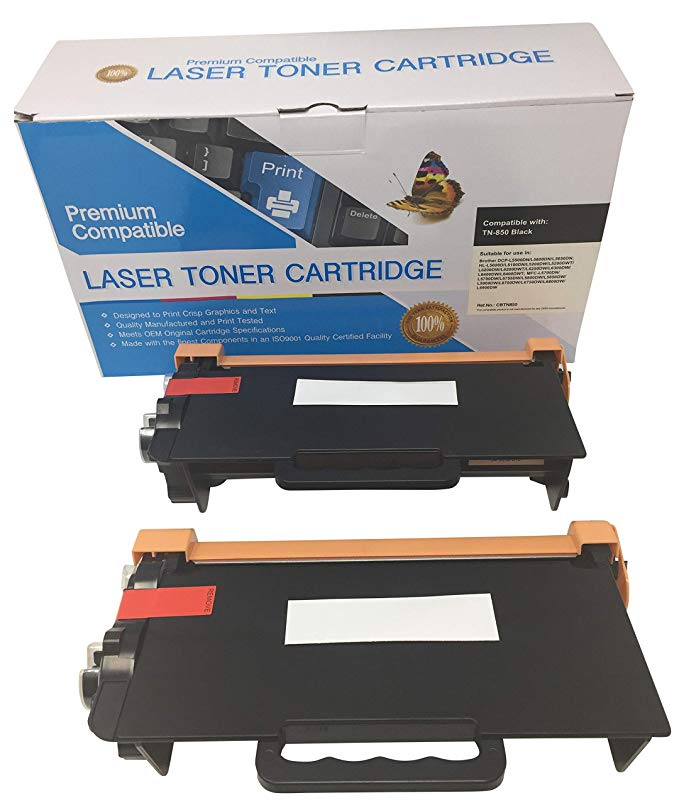 2 PhotoSharp ブラック ink toner cartridge to replace ハイ yield Brother TN850/TN820 compatible for MFC-L6750DW Wireless オール in one 多機能 laser fax/ printer, refill your printing サプライ stock! (海外取寄せ品)